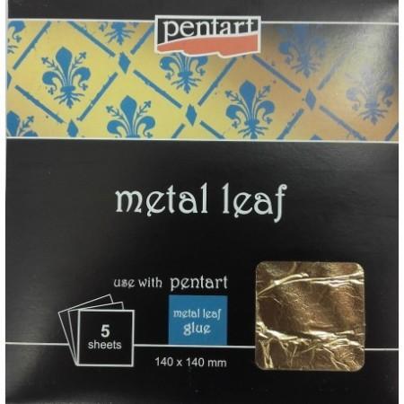 Folia złota II Pentart 14x14 cm 5 arkuszy