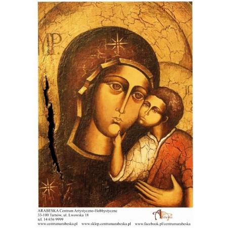 Papier ryżowy Arabeska – Ikona Matki Boskiej z Dzieciątkiem, wzór 2, format A4