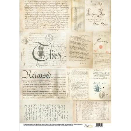 Papier jedwabny - stare ręczne pismo