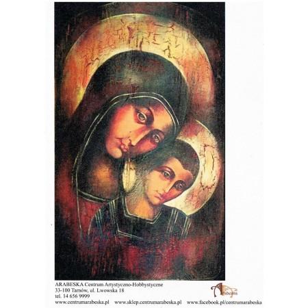 Papier ryżowy Arabeska – Ikona Matki Boskiej z Jezusem, format A5