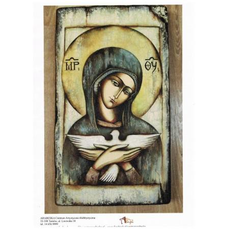 Papier ryżowy Arabeska – Ikona Matki Boskiej z gołębicą, format A5